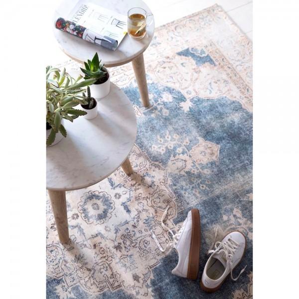 Wohnzimmer Vintage Teppich Florence Ornament Muster Teppiche Carpet Beige  Blau