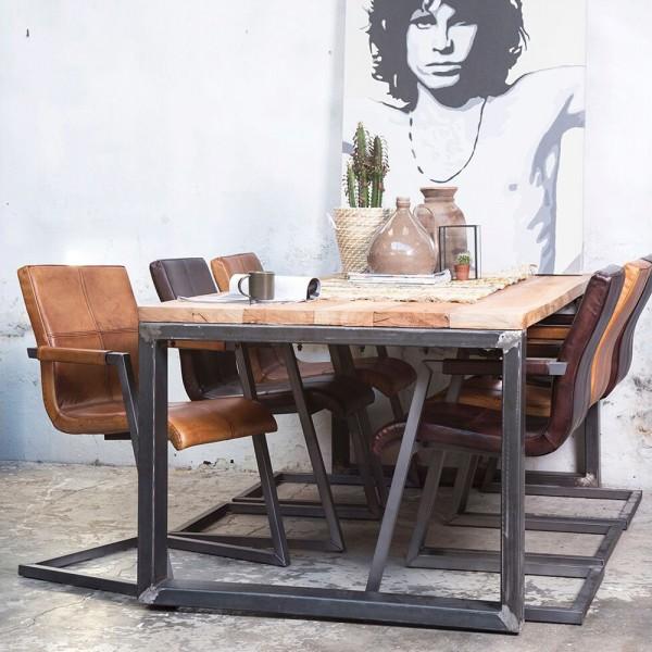 Industrie Esstisch 200 x 100 cm Esszimmertisch Dinnertisch Massivholz Metall
