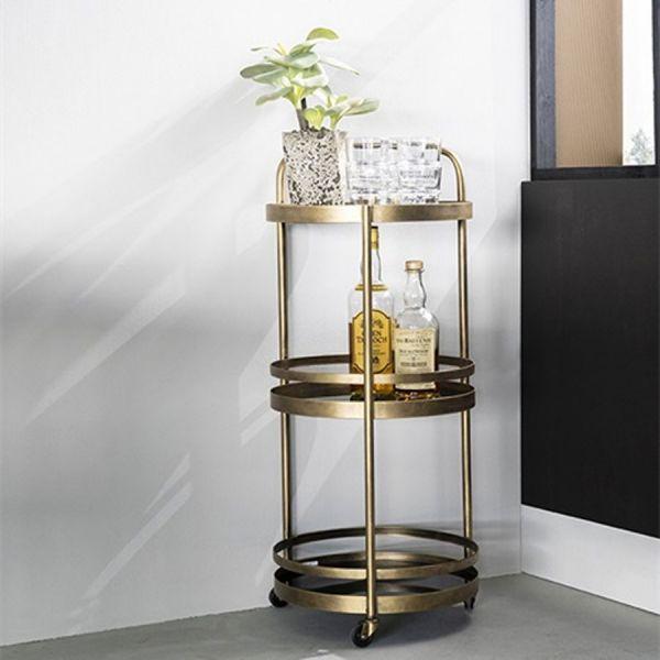 Servierwagen Teewagen rund Bolax bronze Glas