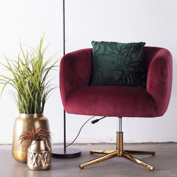 Lounge Sessel Smilla Samt rot Gestell Gold drehbar höhenverstellbar