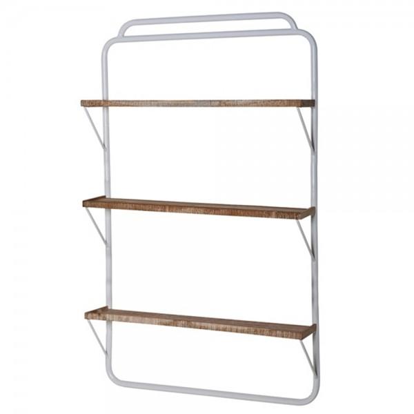 Regal 3 Ebenen Metall weiß Massivholz 150 cm hoch 90 cm breit