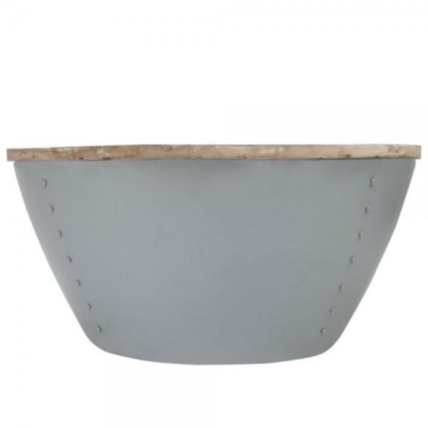 Couchtisch INDI grau Ø 80 cm Metall Mango massiv Beistelltisch Sofatisch Tisch
