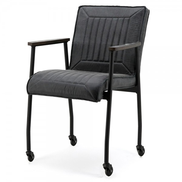 Stuhl MIA mit Rollen Leder schwarz Sessel Esszimmer Esszimmerstuhl Armlehnstuhl Armlehne