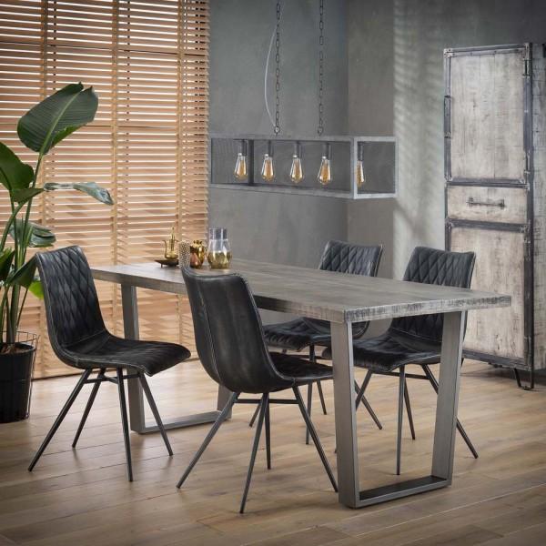 Esstisch 180 x 90 cm grau antik Holztisch massiv Mango Esszimmertisch