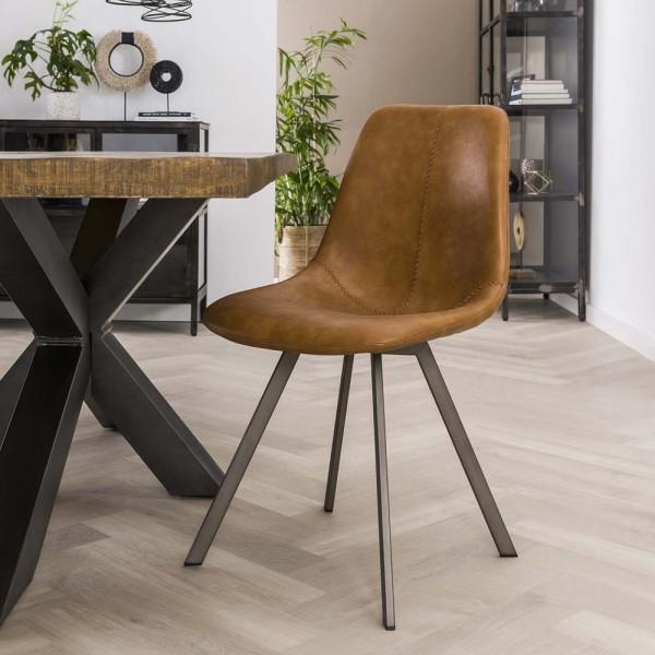 Esstischstuhl Esszimmerstuhl SADDLE Küchenstuhl cognac Stuhl