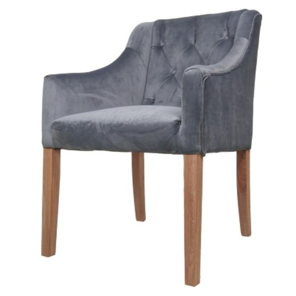 Stuhl Jersey Samt grau Velvet Vierfußstuhl Esszimmerstuhl Armlehnstuhl Esstischstuhl