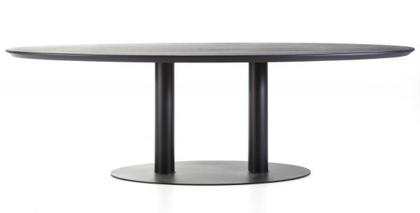 Esstisch Dining oval 240 x 110 cm Eiche Massivholz schwarz