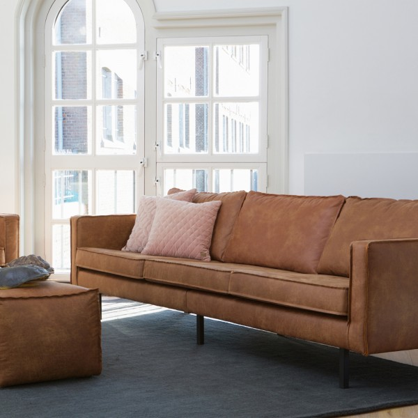 BePureHome 3 Sitzer Sofa RODEO recyceltes Leder cognac