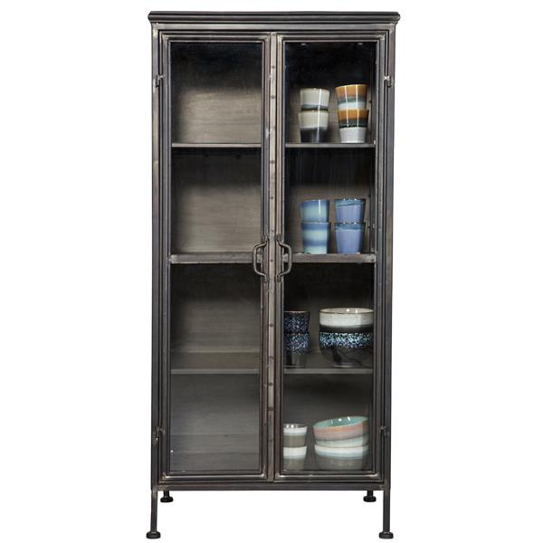 vitrinenschrank puristic schrank vitrinenschrank regal metall schwarz new maison esto ihr. Black Bedroom Furniture Sets. Home Design Ideas