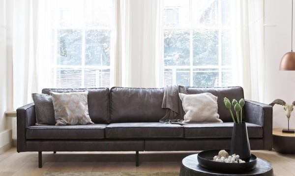 BePureHome 3 Sitzer Sofa RODEO Leder schwarz