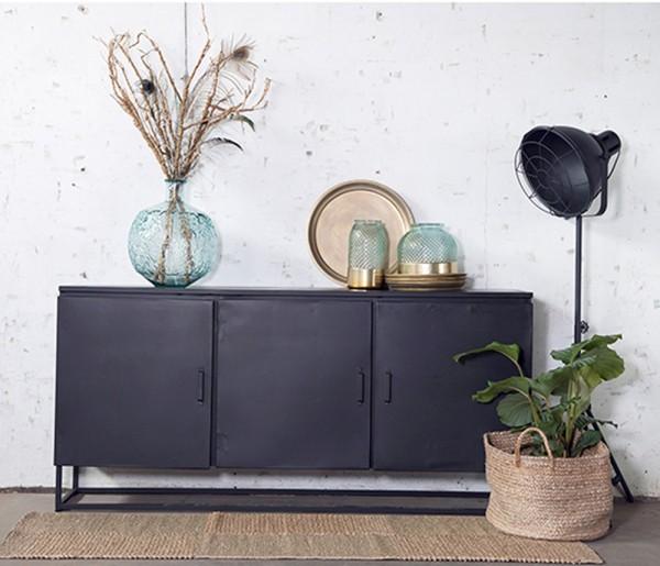 Industrie Sideboard Kommode Lois 180 cm Konsole schwarz Metall