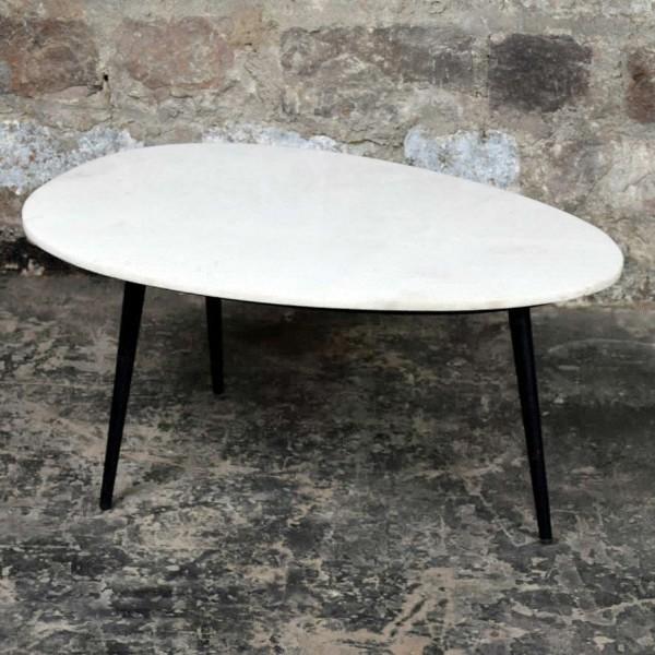 Couchtisch Organic Marmor weiß Metall schwarz