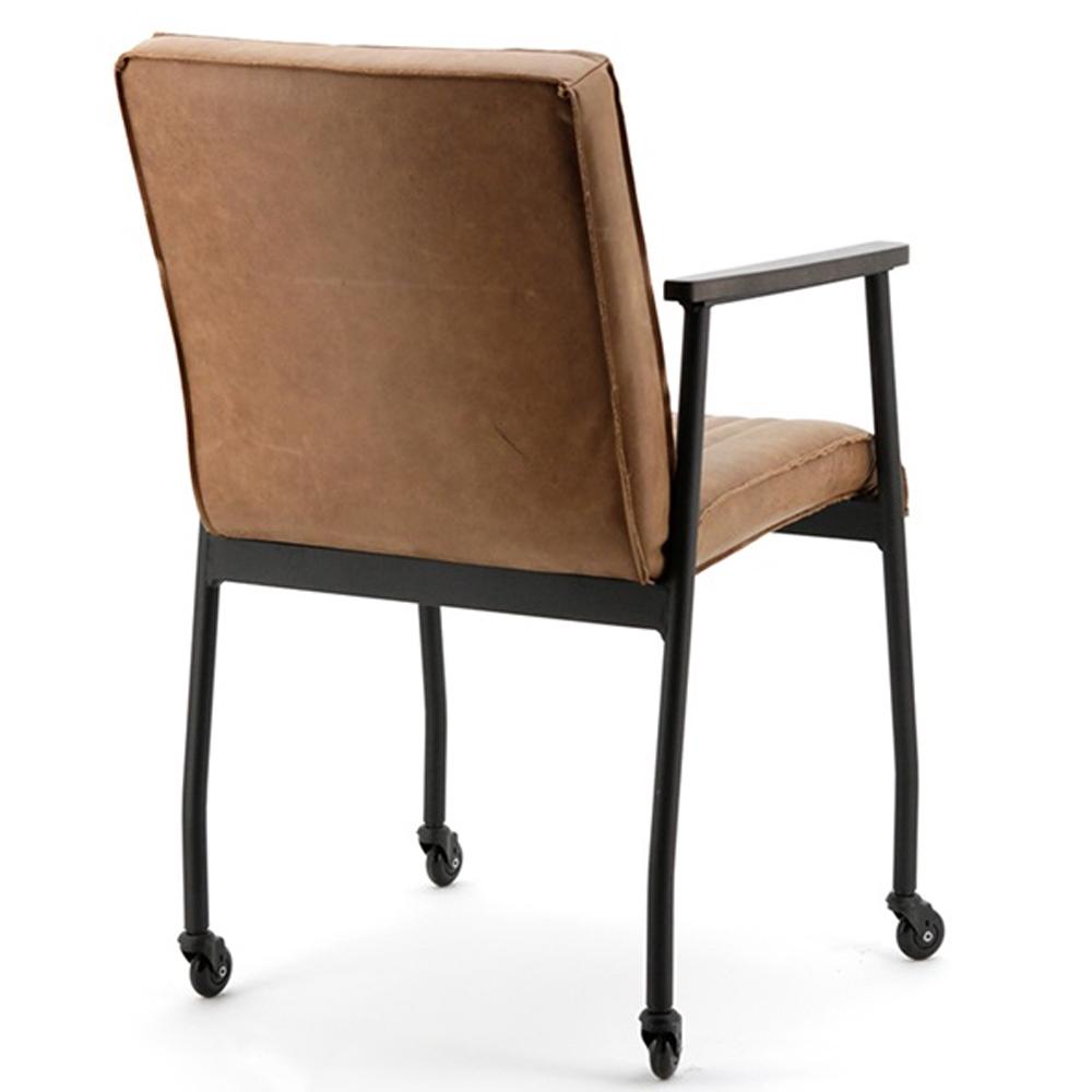 Stuhl mia mit rollen leder cognac sessel esszimmer for Esszimmerstuhle mit armlehne und rollen