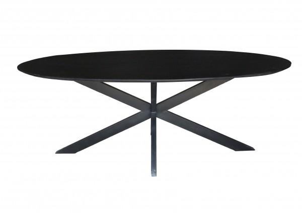 Esstisch Oslo 240 x 110 cm oval Akazie schwarz