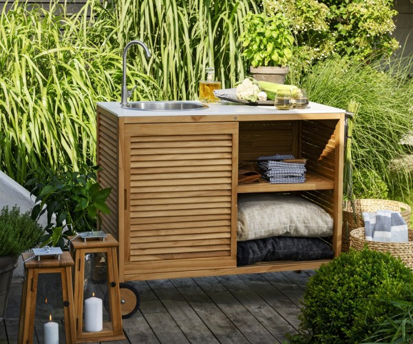 Outdoor Küche Teakholz Außenküche weiss Marmor-Look