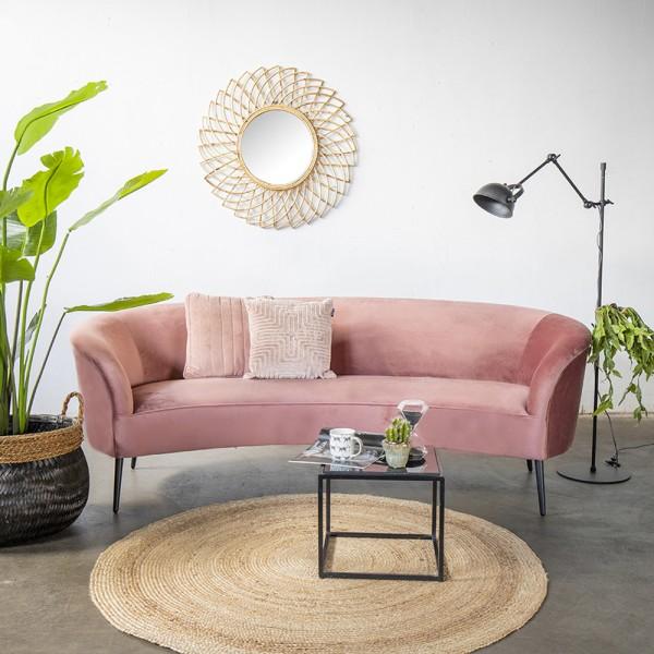 Giga 3 Sitzer Sofa Megan rosa 218 cm Samt Sofabank