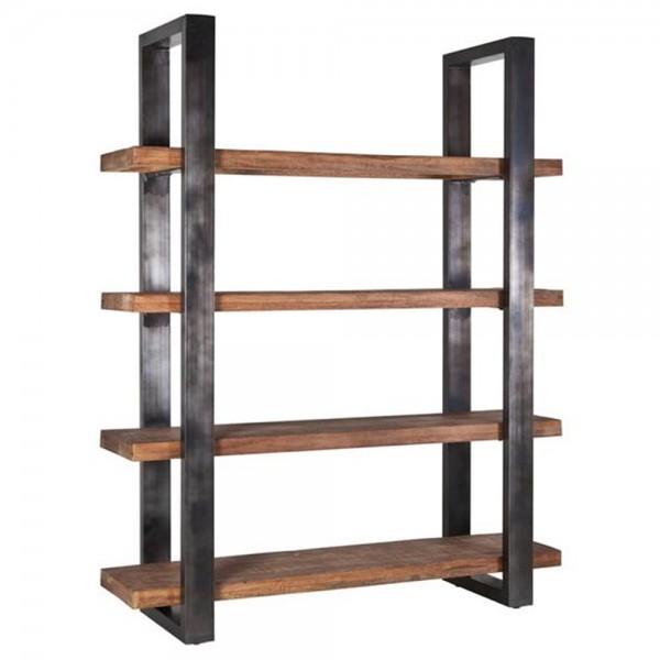 Bücherregal 200 x 160 cm Massivholz Regal Metall schwarz