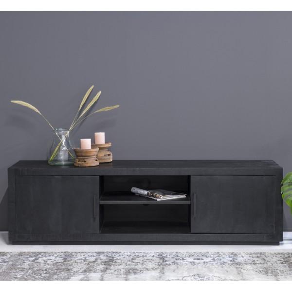 TV Möbel Jaxx B 180 cm Lowboard Mangoholz schwarz