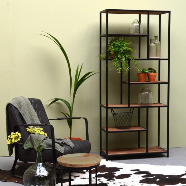 Industrie Design Regal FLOW Metall schwarz Massivholz Ablageregal Bücherregal