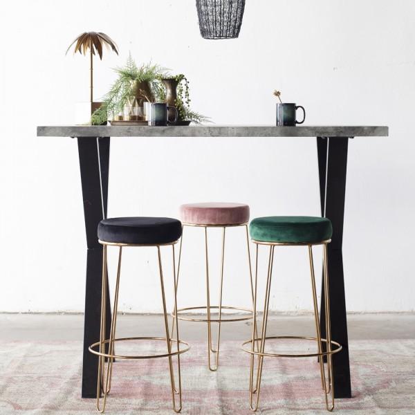 Barhocker Britt Lux rosa Samt Velvet Gold Hocker Barstuhl Küchenhocker Stuhl