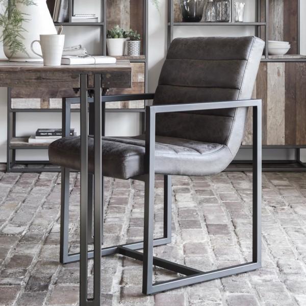 Esszimmerstuhl VIRGINIA Leder steingrau Stuhl Polsterstuhl Esszimmer Küchenstuhl