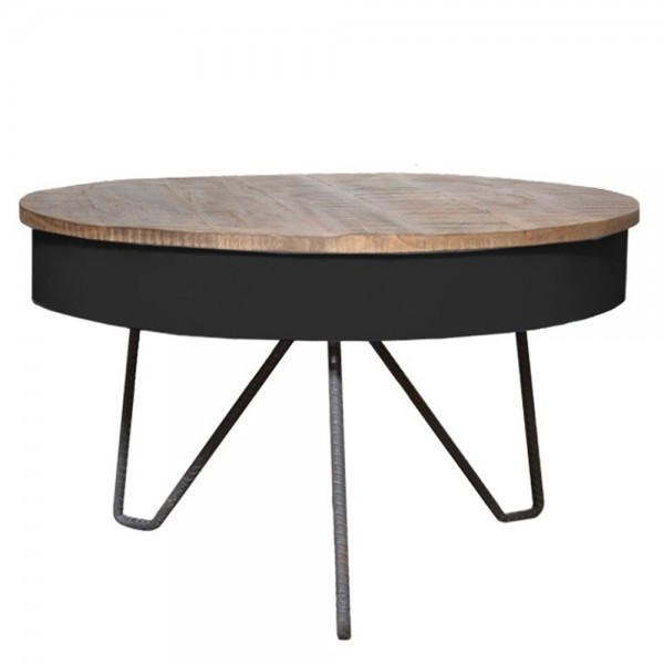 Couchtisch SARIA Ø 80 cm schwarz Metall Mango massiv Beistelltisch Sofatisch Tisch