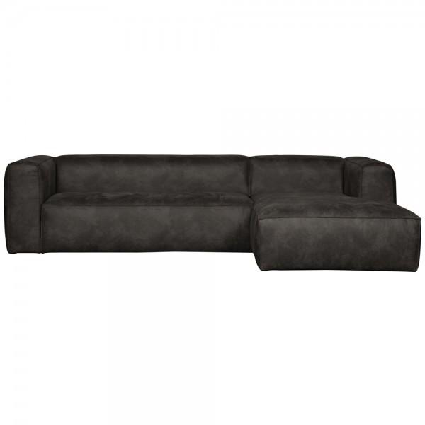 Ecksofa BEAN recyceltes Leder schwarz Longchair rechts