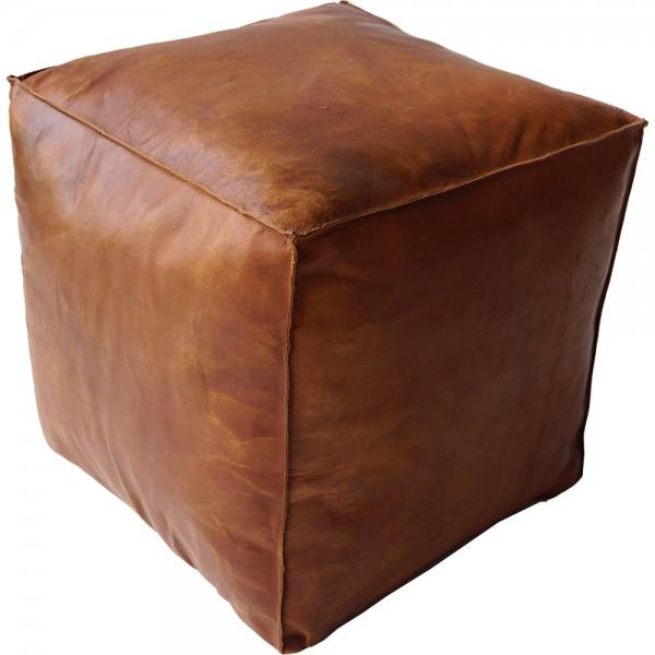Leder Hocker 40 x 40 cm Lederhocker Sitzhocker Sitzpouf Leder braun
