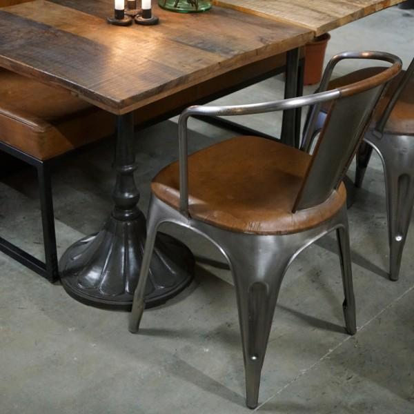 4er Set Industrie Design Esstischstuhl Living Metall Leder braun Esszimmerstuhl Stuhl