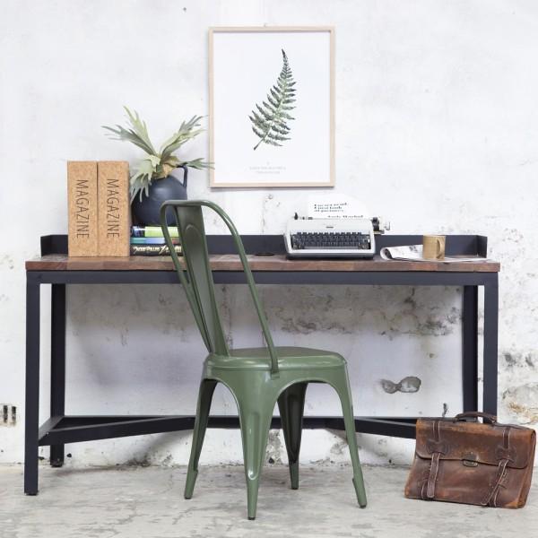 Industrie Schreibtisch Writing schwarz Metall Massivholz