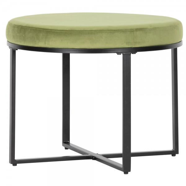 Hocker Dewi Ø 60 cm grün Metall Samt Sitzhocker