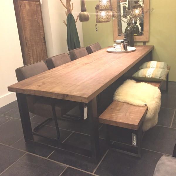 Esstisch 160 x 90 cm Mango Massivholz Metallgestell Tisch Esszimmertisch