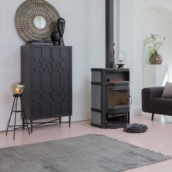 Wohnzimmer Teppich Ravel anthrazit 240 x 170cm Teppiche Carpet Baumwolle Viskose