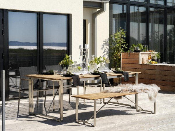 exclusiver Gartentisch Gotland I Teakholz 220 / 320 cm Edelstahl ausziehbar