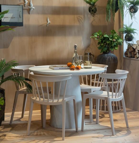 woood Esstisch Gartentisch rund Damon Ø 100 cm Tonfaser weiss