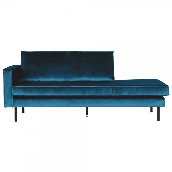 Sofa Chaiselongue RODEO Recamiere Samt blau links Tagesbett