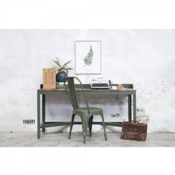 Vintage Sekretär Tisch Writing grün Schreibtisch Schreibkommode Computertisch Metall Massivholz