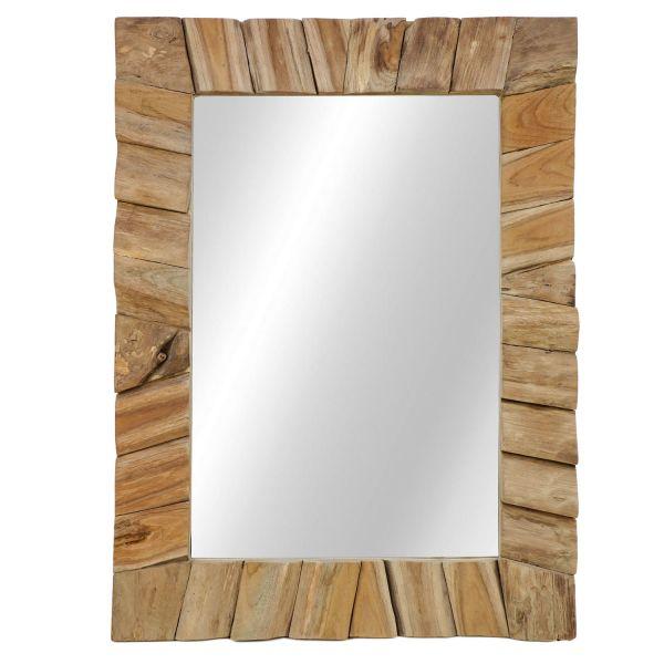 Wandspiegel 60 x 80 cm Spiegel Teak natur hoch oder quer