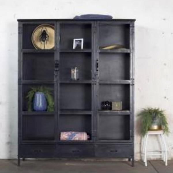Industrie Design Vitrinenschrank Basic 3 Türen Vitrine Metallschrank Schrank Metall schwarz