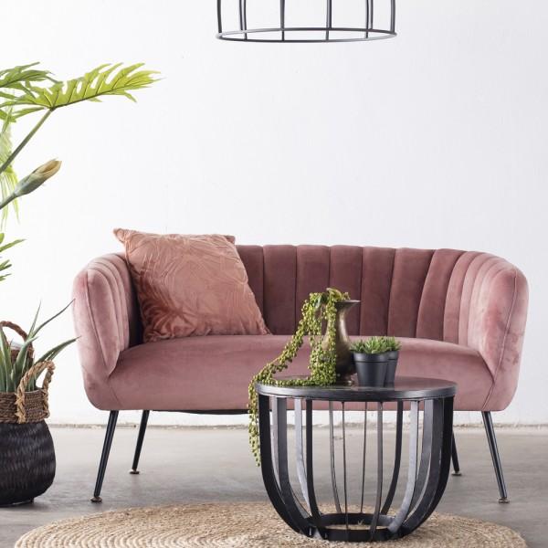 2 Sitzer Sofabank Sofa Amy 130 cm Samt rosa