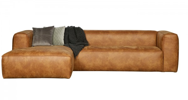 woood Ecksofa BEAN recyceltes Leder cognac Longchair links