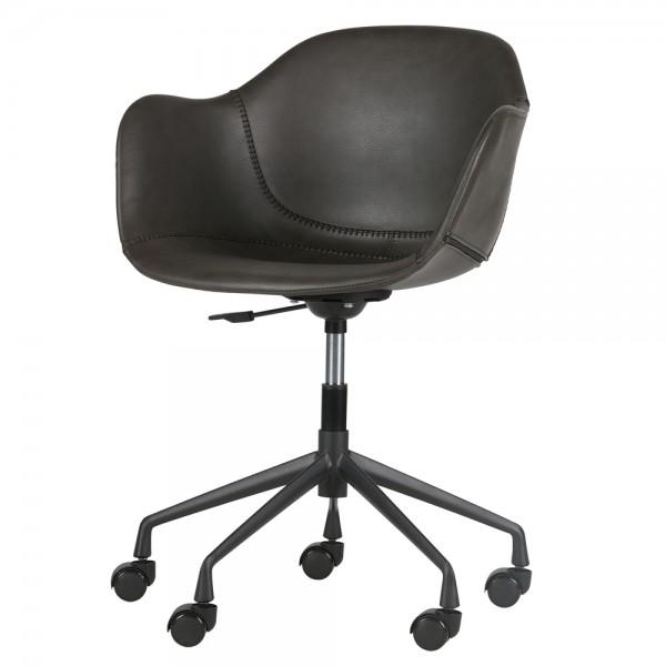 Bürostuhl FOS Kunstleder grau Komfort Bürosessel Drehstuhl Armlehnen Chefsessel