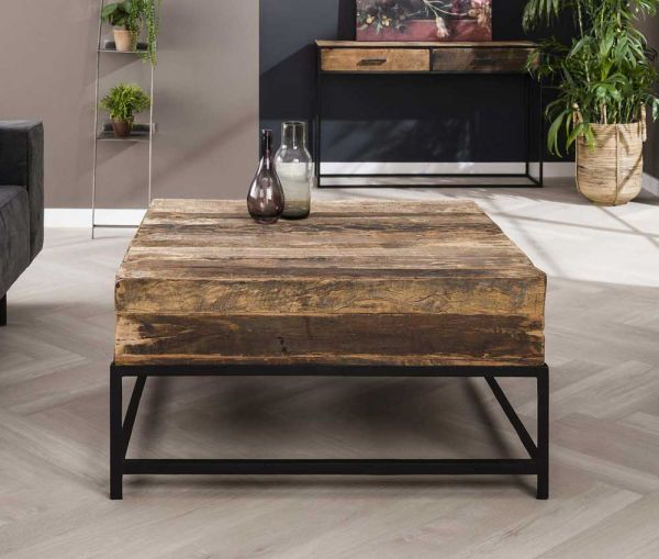 Couchtisch Loft 90 x 90 cm recyceltes Holz