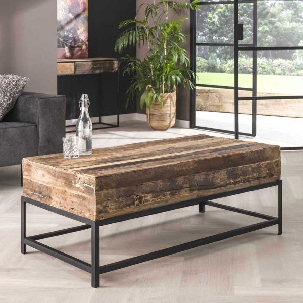 Couchtisch Loft 120 x 60 cm recyceltes Holz Metall