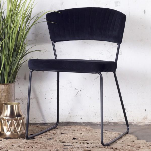 2´er Set Esszimmerstuhl Grace Velvet Samt schwarz Stuhl