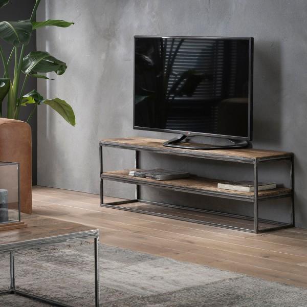 TV Möbel GRANULAR 130 cm Sideboard Hartholz Regal