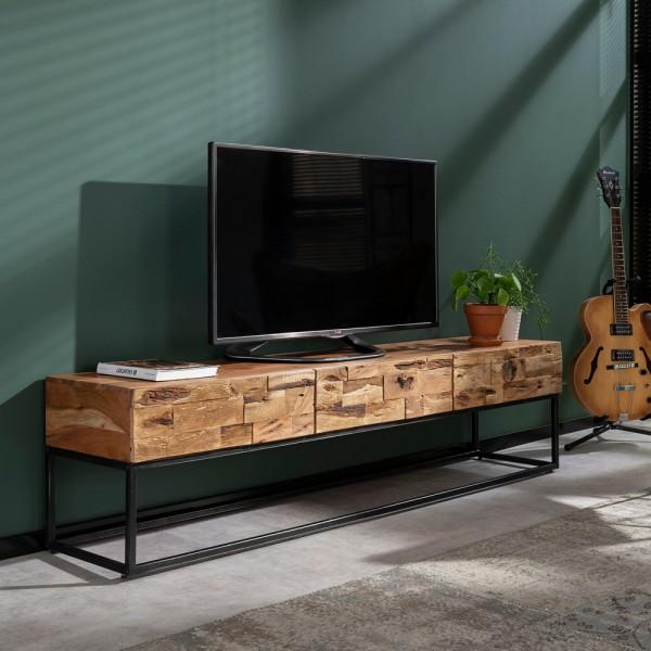 TV Möbel Milla 180 cm Schubladen Board Sideboard Kommode Metall Akazienholz