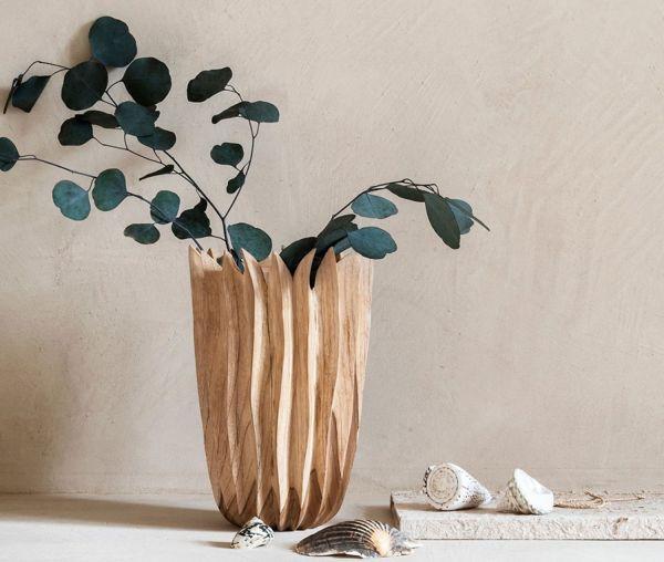 Must-Living Vintage Holzvase Star H 30 cm Vase Blumenvase Teakholz