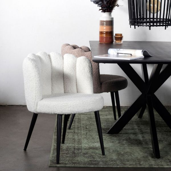 2er Set Esszimmerstuhl AVERY Teddystoff weiß Stuhl