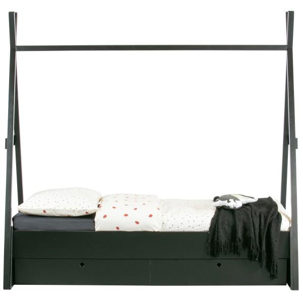 Tipi Zelt Bett Joep 200 x 80 cm Kiefer schwarz incl. Bettkasten